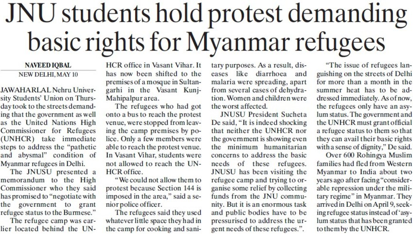 JNU students hold protest demanding basic rights for Myanmar refuges (Jawaharlal Nehru University)