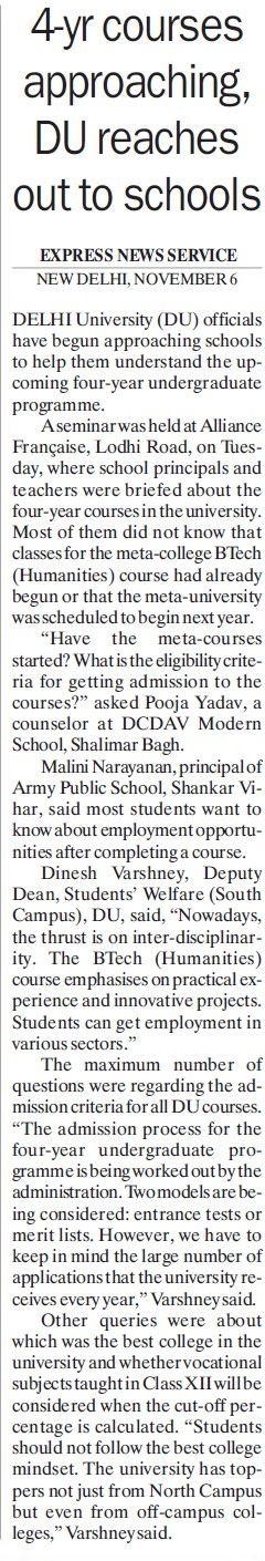 4 years courses approaching, DU reaches out of schools (Delhi University)