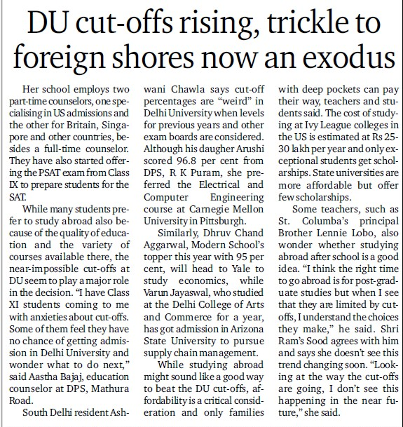 DU cut offs rising, trickle to foreign shores now an exodus (Delhi University)