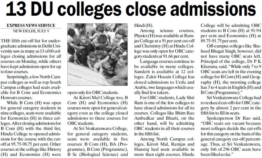 13 DU Colleges close admissions (Delhi University)