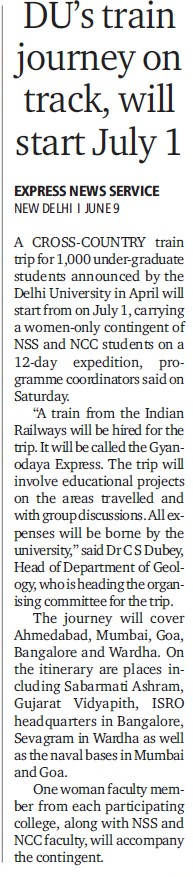 DUs train journey on track, will start july 1 (Delhi University)