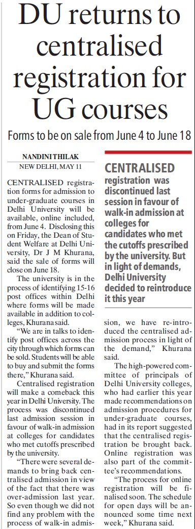 Du return to centralised registration for UG Courses (Delhi University)