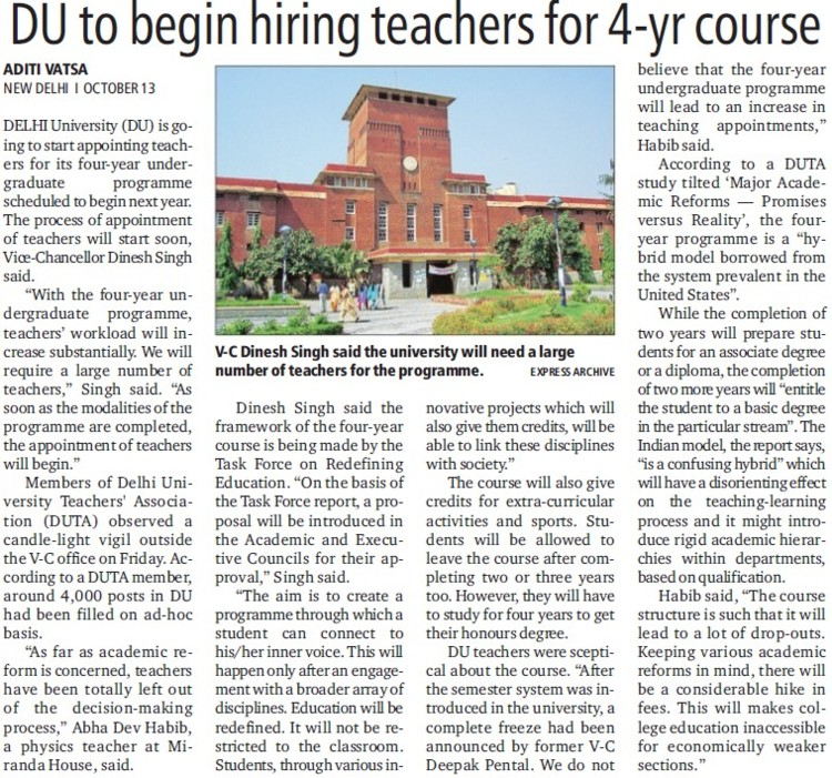 DU to begin hiring teachers for 4 year course (Delhi University)
