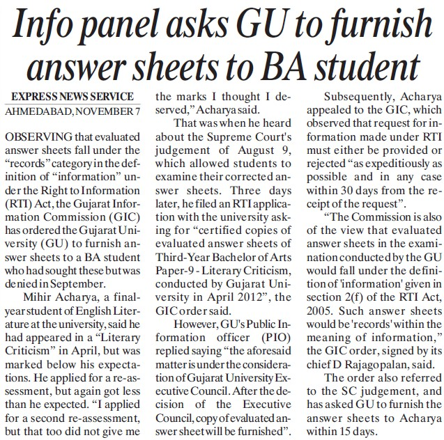 GU to furnish answer sheets to BA students (Gujarat University)