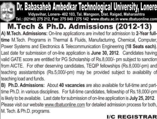 M tech and PhD  (Dr Babasaheb Ambedkar Technological University, Lonere)