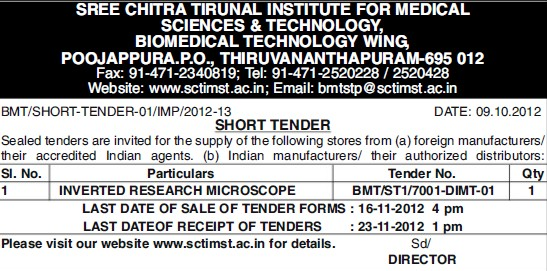 Supply of inverted research microscope (Sree Chitra Tirunal Institute For Medical Sciences and Technology)