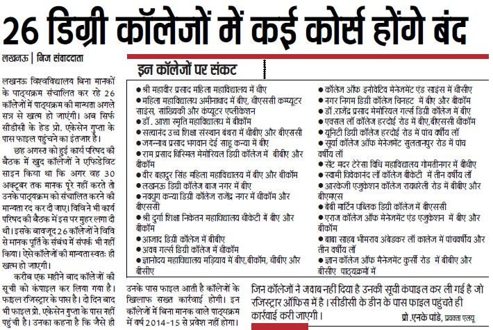Degree Courses will close in 26 Colleges (Lucknow University)