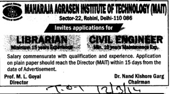 Librarian and Civil Engineer (Maharaja Agrasen Institute of Technology)