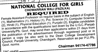 Asstt Professor for Maths and Hindi (National College for Girls)