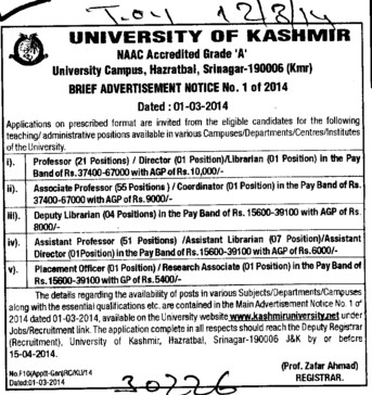 Asstt Professor and Placement Officer (Kashmir University)