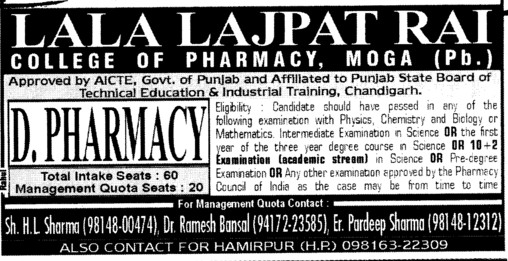 D Pharmacy Course (Lala Lajpat Rai (LLR) College of Pharmacy)