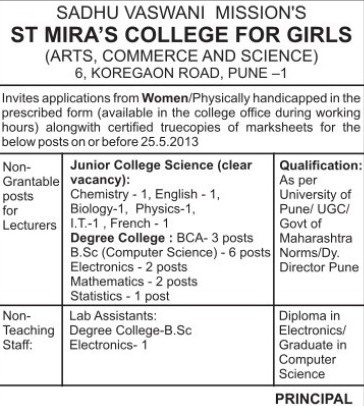 Lecturers for Biology and Chemistry (St Mira College Koregaon Park)