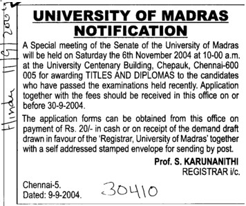 Notification for senate meeting (University of Madras)