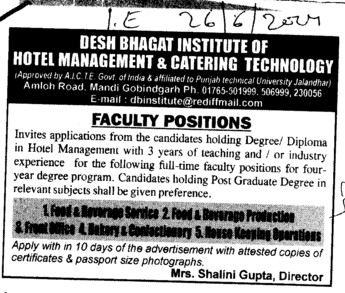 Diploma in Hotel Management (Desh Bhagat Institute of Hotel Management and Catering Technology)