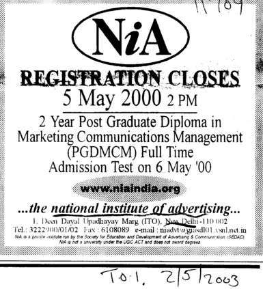Post Graduate Diploma in Marketing Management (National Institute of Advertising)