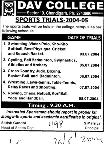 Sports Trail 2004 (DAV College Sector 10)