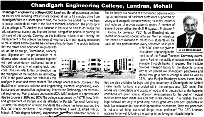 Message of Principal Dr GD Bansal (Chandigarh Engineering College (CEC))