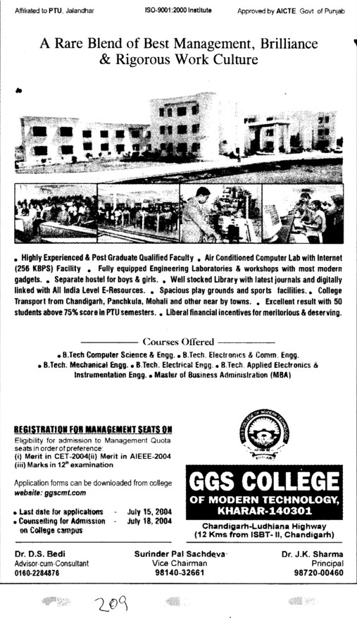 B tech in Computer Enhgineering (GGS College of Modern Technology)