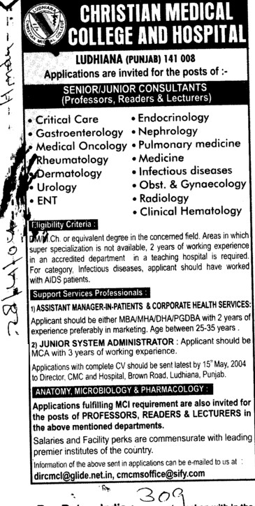 Junior Consultants (Christian Medical College and Hospital (CMC))