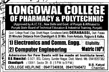 B Tech in ECE (Longowal College of Pharmacy and Polytechnic)
