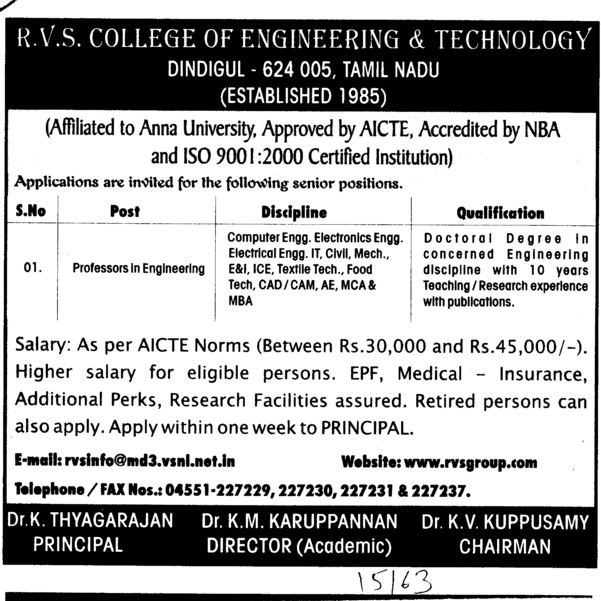 Professor in Engineering (RVS College of Engineering and Technology)