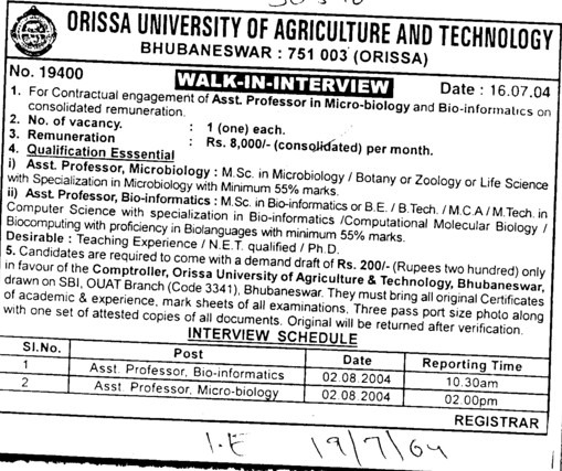 Asstt Professor in Micro biology (Orissa University of Agriculture and Technology)