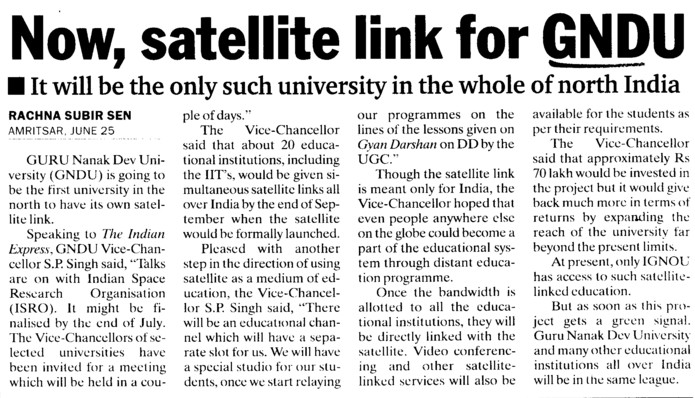 Now, satellite link for GNDU (Guru Nanak Dev University (GNDU))