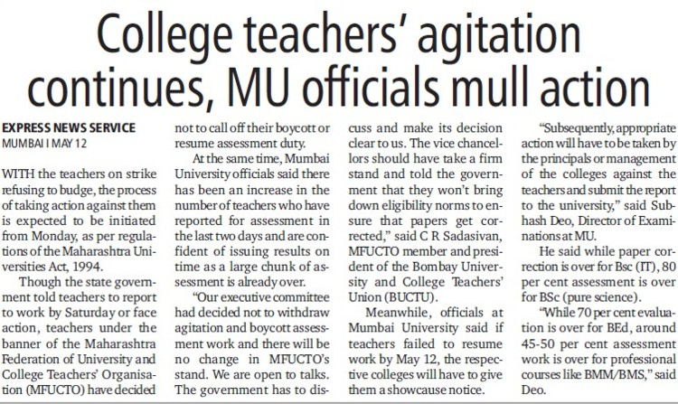 College teachers agitation continues, MU officials mull action (University of Mumbai)
