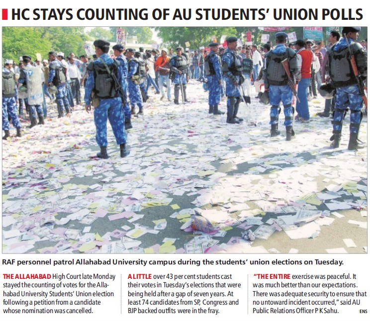 HC stays counting of AU students union polls (University of Allahabad)