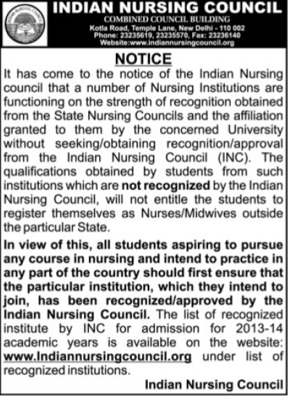 Non recognised Institute (Indian Nursing Council (INC))