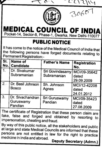 Fake registration of Dr Sivakumar Subramanian (Medical Council of India (MCI))