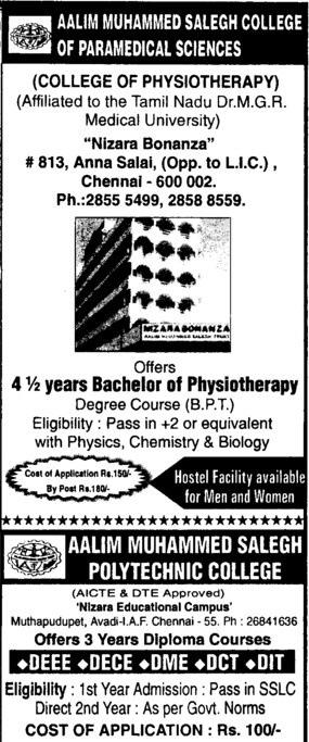 Bachelor of Physiotherapuy (Meenakshi College of Physiotherapy)