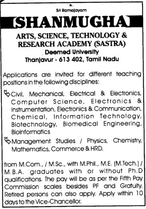 Faculty for PCM and Mechanical Engineering (SASTRA University)