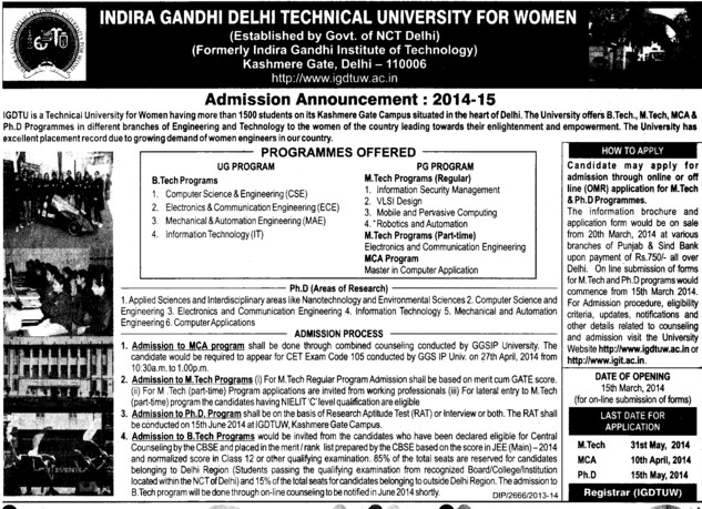 M Tech in VLSI Design (Indira Gandhi Delhi Technical University for Women (IGDTUW IGIT))
