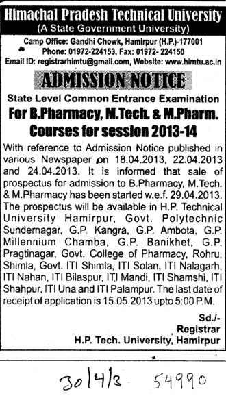 B Pharmacy, M Tech and M Pharm (Himachal Pradesh Technical University HPTU)