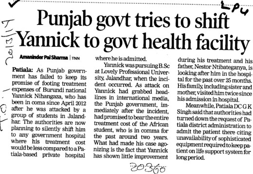 Punjab govt tries to shift yannick to govt health facility (Lovely Professional University LPU)