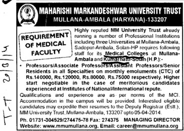 Asstt Professor and Senior Resident (Maharishi Markandeshwar University)