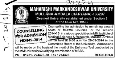 MD and MS course (MM Institute of Medical Sciences and Research (MMIMSR))