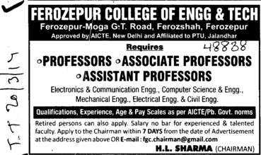 Associate Professor for Electronics and Communication (Ferozepur College of Engineering and Technology)