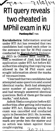 RTI query reveals two cheated in MPhil exam in KU (Kurukshetra University)