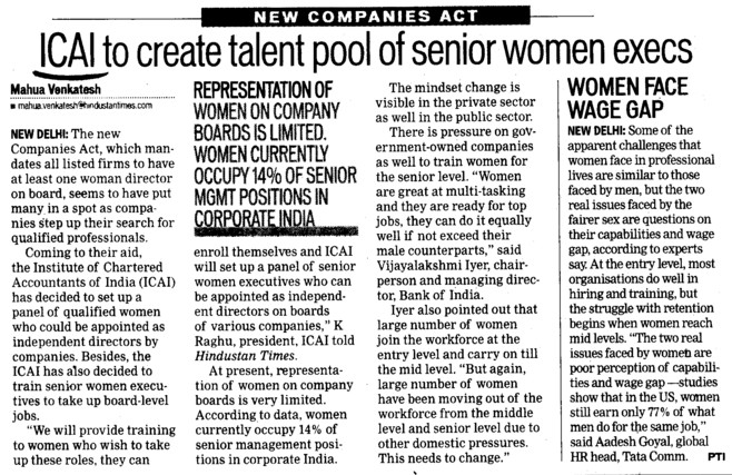 ICAI to create talent pool of senior women execs (Institute of Chartered Accountants of India (ICAI))
