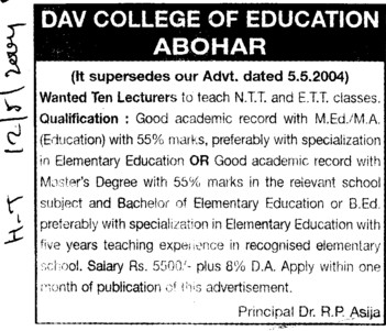 Lecturers for NTT and ETT (DAV College of Education)