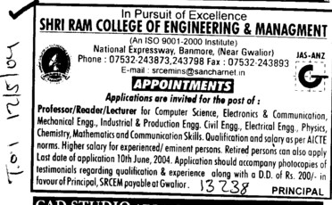 Reader and Lecturer (Shri Ram College of Engineering and Management (SRCEM))