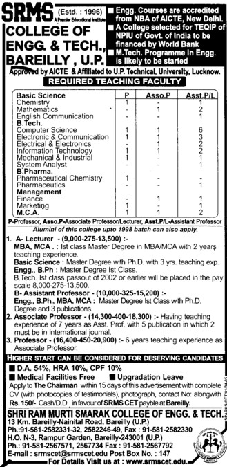 Lecturer for MBA and MCA (SRMS College of Engineering & Technology)