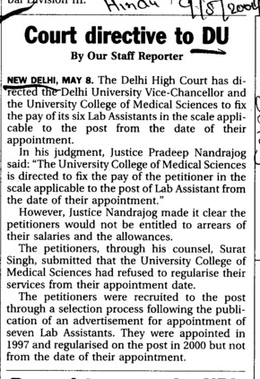 Court directive to DU (Delhi University)