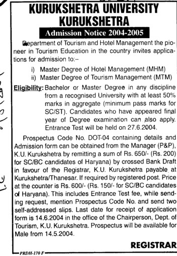 Master Degree in Hotel Management (Kurukshetra University)