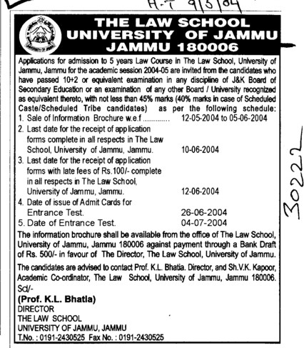 Law Courses (Jammu University)