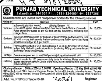 Tender for Catering Services (Punjab Technical University PTU)