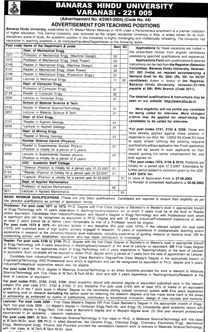 Lecturer in Material Science (Banaras Hindu University)