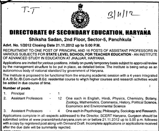 Asstt Professor for Zoology (Directorate of School Education Haryana)